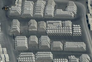 Aerial view of a storage area for concrete pipes - Klaus Leidorf Aerial Photography