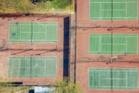 Aerial view of tennis courts in Brits, South Africa - Klaus Leidorf Aerial Photography