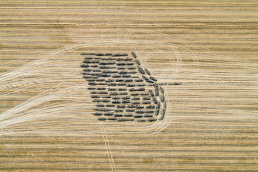 Aerial photograph of heaps of earth on a harvested grain field - Klaus Leidorf Aerial Photography
