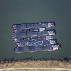Aerial view of cargo ships on the Danube - Klaus Leidorf Aerial Photography
