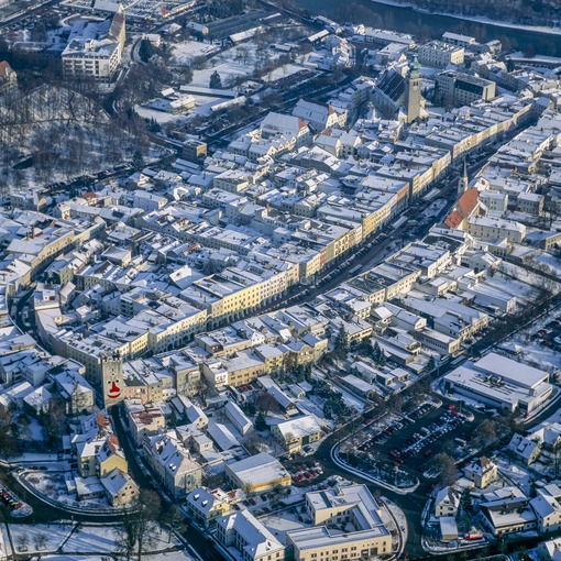 Aerial view of Mühldorf am Inn in winter - Klaus Leidorf Aerial Photography