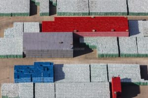 Aerial view of a beverage warehouse in Monheim - Klaus Leidorf Aerial Photography