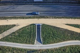 Aerial view of roads and paths with underpass - Klaus Leidorf Aerial Photography
