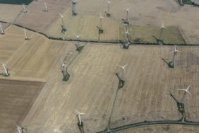 Aerial view of wind turbines near Schkölen-Wetzdorf in Thuringia - Klaus Leidorf Aerial Photography