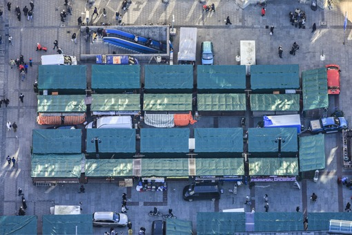 Aerial view of the construction work on the Christmas market on Marienplatz in front of the city hall in Munich - Klaus Leidorf Aerial Photography