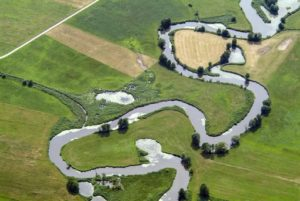 Aerial view of the meanders of the Wörnitz near Wilburgstetten - Klaus Leidorf Aerial Photography