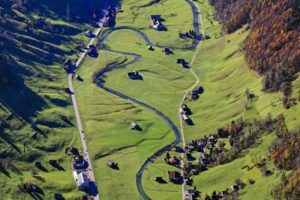 Aerial view of the loops of the Thur near Alt Sankt Johann near St.Gallen - Klaus Leidorf Aerial Photography