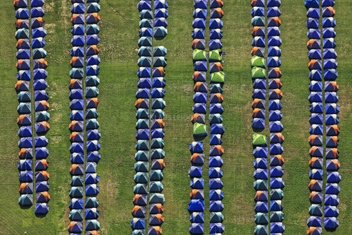 Aerial view of the provisional accommodation for Oktoberfest visitors in the riding stadium in Munich-Daglfing - Klaus Leidorf Aerial Photography
