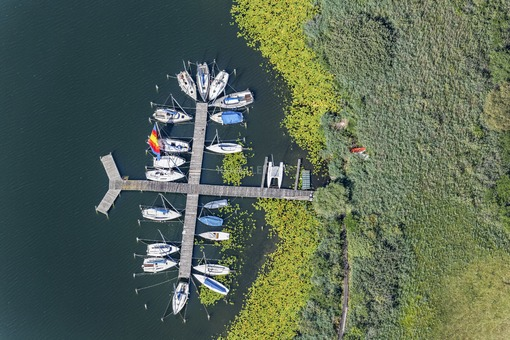 Aerial view of the landing stage for sailboats at Obertrumer See - Klaus Leidorf Aerial Photography