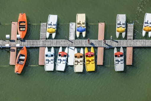 Aerial view of the landing stage for pedal boats at Waginger See - Klaus Leidorf Aerial Photography