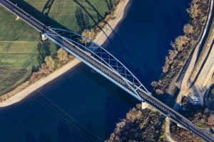 Aerial view of the Danube bridge near Parkstetten-Reibersdorf - Klaus Leidorf Aerial Photography
