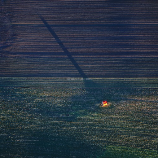 Aerial view of the field chapel near Thaldorf in the evening light - Klaus Leidorf Aerial Photography