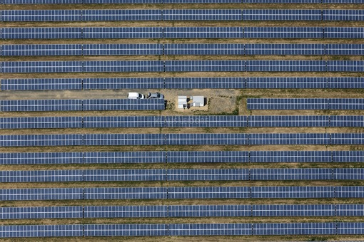 Aerial view of the open space photovoltaic plant near Lützen-Lösau in Saxony-Anhalt - Klaus Leidorf Aerial Photography