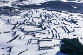 Aerial view of the hedge landscape at Unterrodach in winter - Klaus Leidorf Aerial Photography