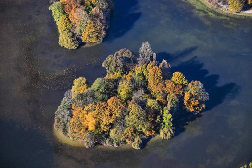 Aerial view of the island in Kleinhesseloher See in the English Garden in Munich - Klaus Leidorf Aerial Photography