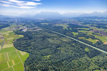 Aerial view of the Salzachaue in Flachgau in the Salzburger Land in Austria near Anthering - Klaus Leidorf Aerial Photography