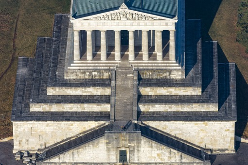 Aerial view of the Walhalla, where only two visitors can be seen - Klaus Leidorf Aerial Photography