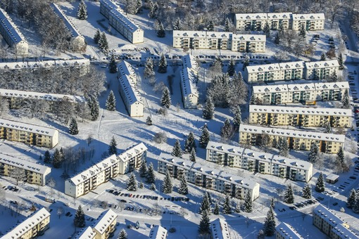 Aerial view of the housing estate in Munich-Fasangarten - Klaus Leidorf Aerial Photography