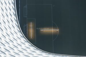 Aerial view of the electrical lighting of the turf in front of the football goal in the Allianz Arena Stadium in Munich-Fröttmaning - Klaus Leidorf Aerial Photography