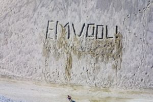 Aerial photo of a graffiti in a gravel dump - Klaus Leidorf Aerial Photography