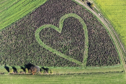 Aerial view of a heart in the field, until 01.06.2019 over 2.8 million times viewed on Flickr - Klaus Leidorf Aerial Photography