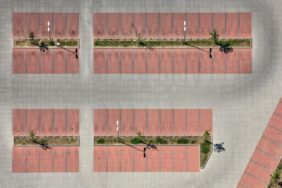 Aerial view of a customer car park at the shopping market - Klaus Leidorf Aerial Photography