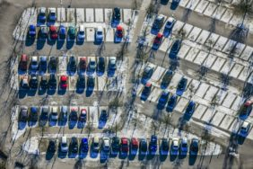 Aerial view of a parking lot for employees - Klaus Leidorf Aerial Photography