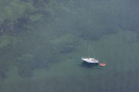 Aerial photo of a sailing boat with trailer - Klaus Leidorf Aerial Photography