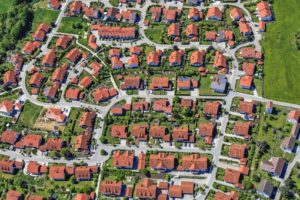 Aerial view of a single family house settlement in Tann - Klaus Leidorf Aerial Photography