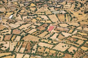 Aerial view of a hedge landscape near Zafara in the northwest of Spain - Klaus Leidorf Aerial Photography