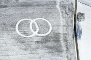 Aerial view of two circles on snowy field - Klaus Leidorf Aerial Photography