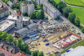 Aerial view of the construction site of the old slaughterhouse in Landshut - Klaus Leidorf Aerial Photography
