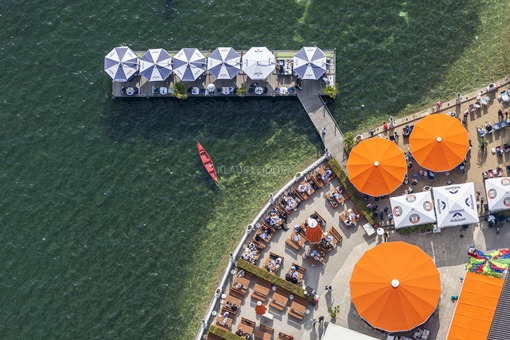 Aerial view of the Orange Beach Bar and Restaurant am Undosa in Starnberg directly at the Starnberger See - Klaus Leidorf Aerial Photography