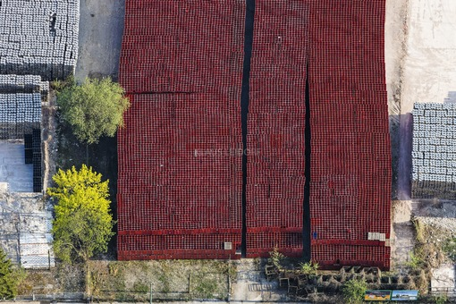 Aerial view of a storage area for empty beer crates at the Paulaner Brewery in Munich - Klaus Leidorf Aerial Photography