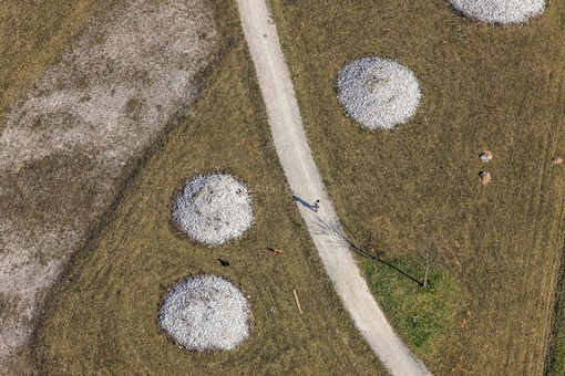Aerial view of a walker in München-Neuried - Klaus Leidorf Aerial Photography