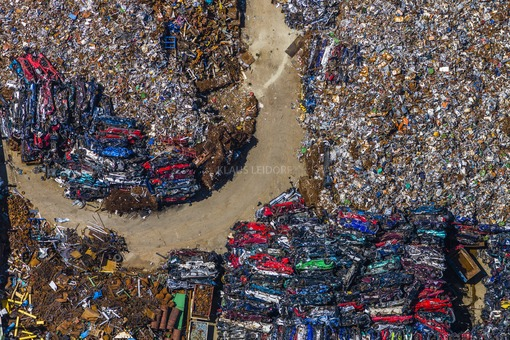 Aerial photograph of a dump for scrap metal of a recycling company near Freising - Klaus Leidorf Aerial Photography