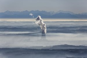 Aerial view of the nuclear power plant Isar 2 in front of the alpine panorama - Klaus Leidorf Aerial Photography