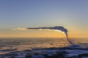 Aerial view of the nuclear power plant Isar II near Ohu in winter evening light - Klaus Leidorf Aerial Photography