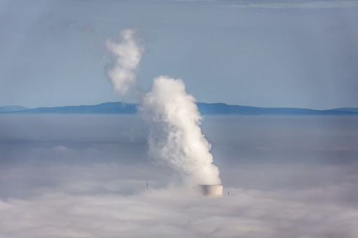 Aerial view of the nuclear power plant on the Isar in the fog - Klaus Leidorf Aerial Photography