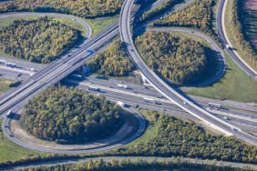 Aerial view of the motorway junction Biebelried - Klaus Leidorf Aerial Photography