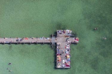 Aerial view of the bathing jetty in Starnberger See near Percha - Klaus Leidorf Aerial Photography