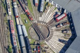 Aerial view of the Bavarian Railway Museum in Nördlingen - Klaus Leidorf Aerial Photography
