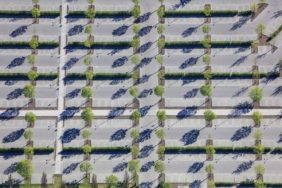 Aerial view of the visitor car park at Ingolstadt Village - Klaus Leidorf Aerial Photography