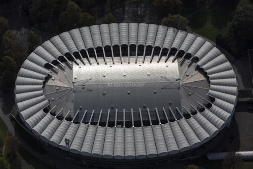 Aerial view of the roof of the Event-Arena in the Olympiapark in Munich - Klaus Leidorf Aerial Photography