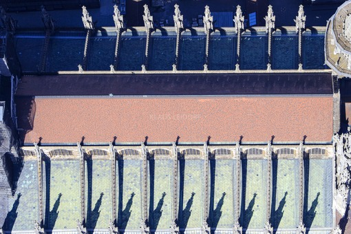 Aerial view of the roof of Ulm Cathedral - Klaus Leidorf Aerial Photography