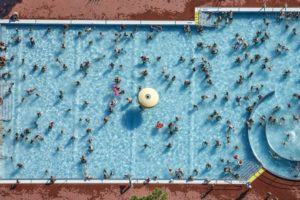 Aerial view of the outdoor pool at the Jahnstraße in Ingolstadt - Klaus Leidorf Aerial Photography