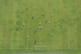 Aerial view of the football field in Kirchberg - Klaus Leidorf Aerial Photography