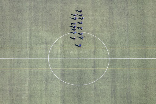 Aerial view of the soccer training of a youth team - Klaus Leidorf Aerial Photography