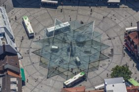 Aerial view of the glass roof of the city bus station at Rossmarkt in Schweinfurt - Klaus Leidorf Aerial Photography