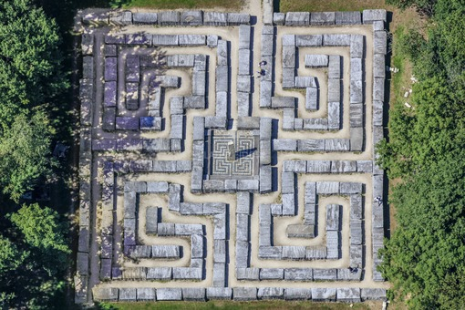 Aerial view of the granite labyrinth Epprechtstein in Kirchenlamitz - Klaus Leidorf Aerial Photography